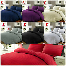 Luxury 100% Egyptian Cotton Satin Strip 500TC Quilt Duvet Cover Bedding Set