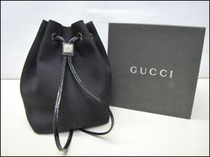 Auth DBN05 GUCCI Drawstring Pouch Silver hardware With box from Japan