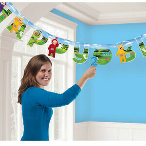 Teletubbies Happy Birthday add AGE Banner Party Decoration Bunting Garland