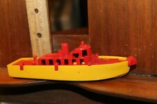 """Vintage Ideatoys Plastic Tug Boat Ship 6"""" Yellow Red 1950's"""