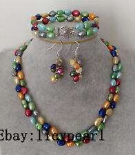 pearl set, 2 rows 8-9mm mehrfarbig barock Perle Halskette Armband Ohrringe Set