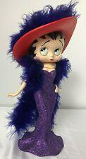 "BETTY BOOP, ""Chic Betty"", 9""  Figure Purple Dress & Purple Boas, Red Hat"