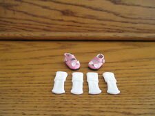 "1-1/4"" PINK MARY JANE DOLL SHOES + TWO PAIRS OF WHITE SOCKS MADE FOR SMALL DOLLS"