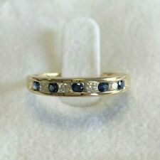 9ct Yellow Gold Blue Sapphire & Diamond Channel Set Half Eternity Ring Size P