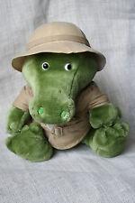 """VTG 14"""" 1987 Dakin Fun Farm Crocodile Alligator Gator Plush Safari Clothes Hat"""