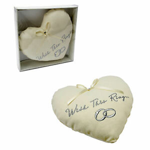 """Amore Wedding  Ring Pillow Cushion  """"With this ring"""""""