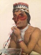 1865 McKenney & Hall Indian Portrait Original Colored Lithograph Wa-em-boesh-kaa
