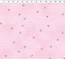 Fat Quarter Guess How Much I Love You Rabbit Words Pink Cotton Quilting Fabric