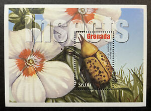 GRENADA INSECTS STAMPS SOUVENIR SHEET 2002 MNH HERCULES BEETLE BUG FLOWERS