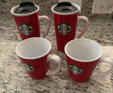 Starbucks 4pc Ceramic Tumbler And Mug Set Red