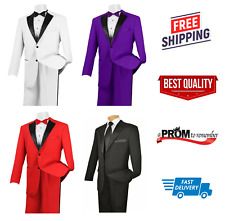 Brand New w/ Tags TUXEDO Jacket & Pant Set Prom High School Tux Suit Satin Lapel