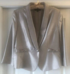 Tahari Luxe Blazer Size 16 3/4 Length Taupe Gold Wedding Formal
