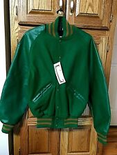 DeLong Letterman Jacket Size XL Green With Brownish Gold Trim