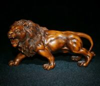 Noble feng shui Decor natural Boxwood hand carve fierce lion Statue figurines