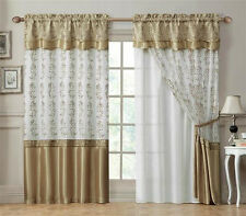 Double-Layer Window Curtain Drapery Panel: White Back Panel with Gold 55x90