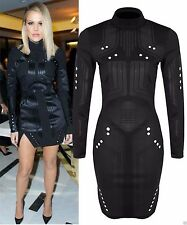 Women's Polo Neck Long Sleeve Cocktail Stretch, Bodycon Dresses