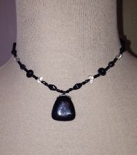 "Black & Clear Stone Pendant Necklace. 16"" Long. 3"" Extender. Chicago Artist"