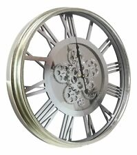 """Large 21"""" Contemporary Transitional Steampunk Metal Wall Clock With Moving Gears"""