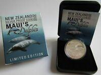 Neuseeland 5 Dollars 2010 Tiere Maui-Delfin 1 Oz Silber PP