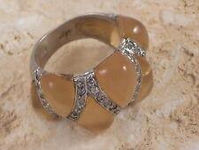Angelique de Paris Vendome Sterling Silver Yellow Resin and Cubic Zirconia Ring