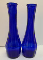"2 Vintage Indiana Glass Cobalt Blue 9"" Classico Bud Vases Original Sticker 2/21"