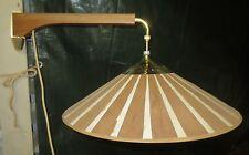 VINTAGE MID CENTURY COUNTER BALANCE SWING ARM TEAK FIBERGLASS PULL DOWN  LAMP