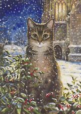 Tabby Cat, Cathedral & Snow Beautiful Xmas Card From Painting By Celia Pike 032