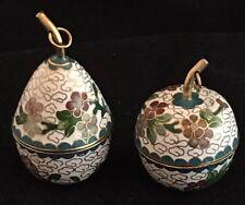 Vintage Miniature White Cloisonne Apple Pear Trinket Boxes screw-on lids hanging