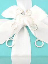 Auth Tiffany & Co Silver Three Triple Circles Dangle Dangling Earrings
