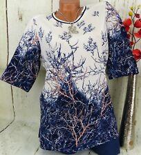 NAVEED Tunika Bluse Shirt Top Lagenlook Longshirt Schlitze Altweiß XL 42 44