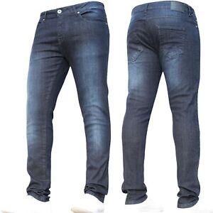 Mens Super Stretch Jeans Skinny Designer Basic Dark Blue Pants All Size New BNWT