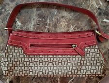 Tommy Hilfiger Women's Handbag Beige and Tan Purse with Red Leather