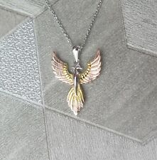 Solid 925 Sterling Silver, Rose Gold & Gold Plated Pheonix Pendant Necklace