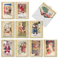 M9779XSB Holly Jolly Santa: 10 Assorted Blank Christmas Note Cards /Envelopes.
