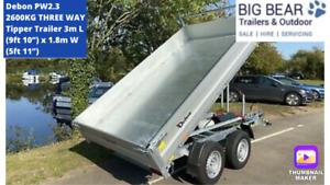 Debon PW2.3 2600kg THREE WAY Tipper Trailer 3m L (9ft 10″) x 1.8m W (5ft 11″)