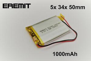 Lithium Polymer LiPo Batterie Akku 1000mAh 503450 3.7 V 1S PCB BMS 21