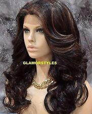 "27"" Long Wavy Black Auburn Mix Long Full Lace Front Wig Heat Ok Hair Piece 1B.30"