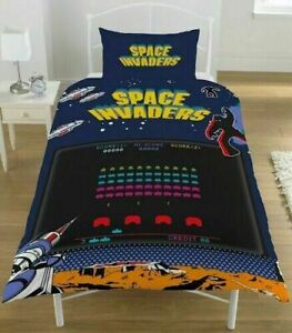Space Invaders Coin Reversible Duvet Quilt Cover Bedding Set Single Bedding Boys