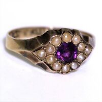 Victorian Amethyst Pearl Daisy Cluster 9ct Yellow Gold Band Ring size J 1/2 ~ 5