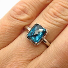 925 Sterling Silver Real London Blue Topaz Gemstone Ring Size 7