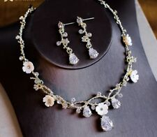 Stunning Gold Ivory Colour Bridal Wedding Crystal Necklace Set Party, Bridesmaid
