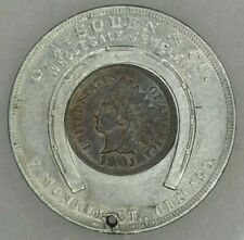 1901 1c Indian Head Cent Encased Token UNC Brown Chicago Illinois G.A.Soden & Co