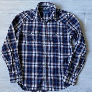 Lucky Brand Flannel Shirt Pearl snap Front Mens Size Small