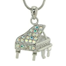"Piano Made With Swarovski Crystal AB Music Grand Piano New Necklace 18"" Chain"