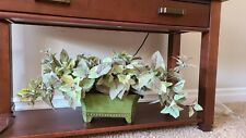 "Artificial Potted Plant Arrangement in green metal 14"" x 9"" with plant 31"" w"
