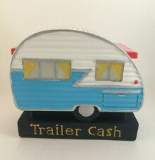 Vintage Trailer Cash Hand Painted Ceramic Camper Bank