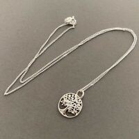 Tree Of Life Filigree Round Pendant Necklace 925 Sterling Silver Dainty Gift