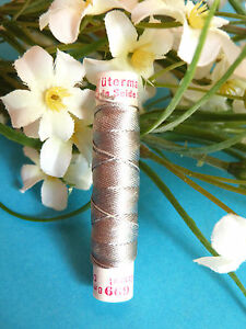 506B / Beautiful Coil Pure Wire Silk Drawstring Gutermann Pearl Grey N° 699