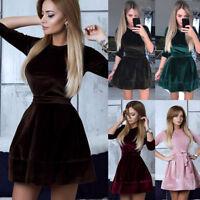 New Women Winter Velvet Swing Plush Dress Party Evening Prom Skater Midi Dress