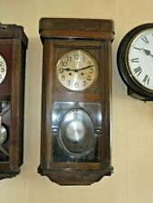 More details for german wall clock  striking movement  solid wood case   rounded  beveled glass